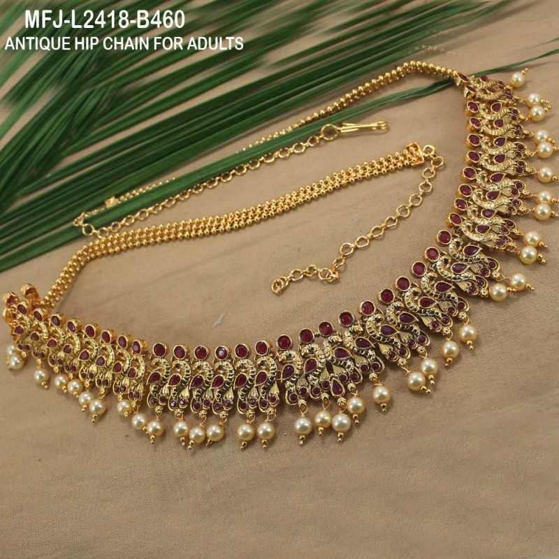 Ruby Stones With Pearls Drops Peacock & Flowers Design Hip Chain Buy Online
