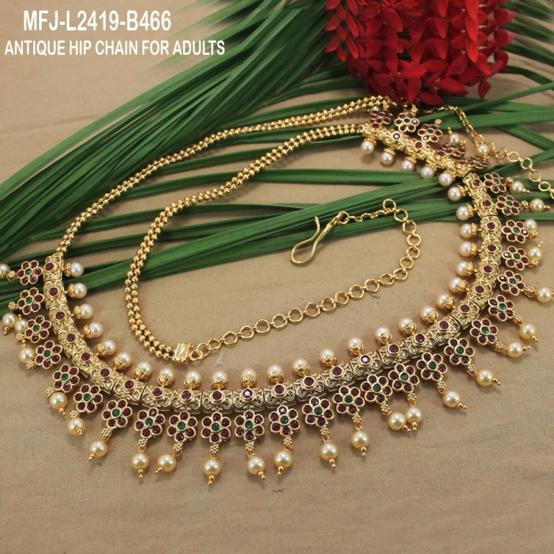 Ruby Stones With Pearls Drops Peacock Design Hip Chain Buy Online
