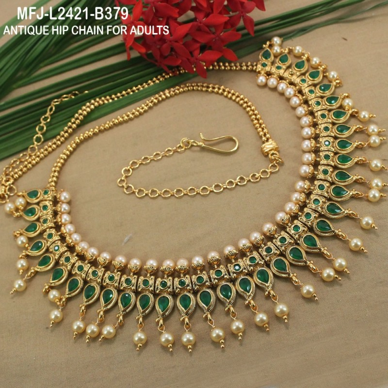 Ruby Stones With Pearls Drops Mango Design Antique Hip Chain Buy Online