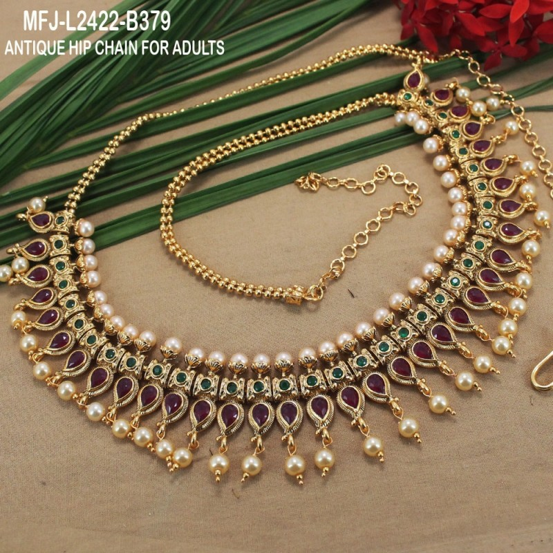 Emerald Stones With Pearls Drops Mango Design Antique Hip Chain Buy Online