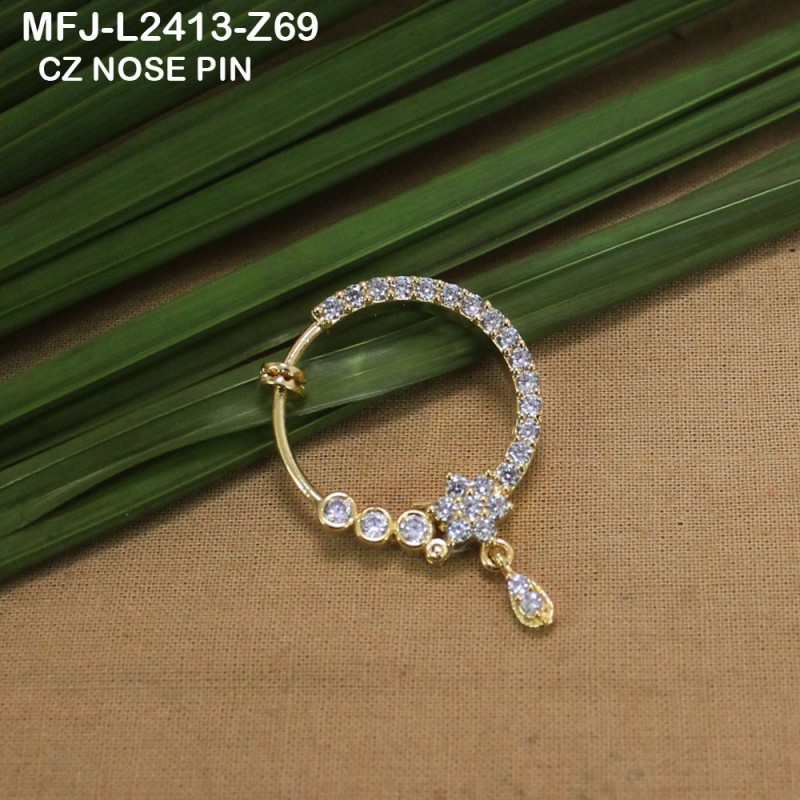 CZ Stones With CZ Drop Flower Design Gold Plated Finish Nose Pin Buy Online