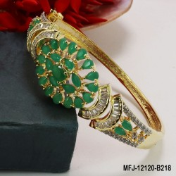 CZ, Ruby & Emerald Stones Leaves Design Gold Plated Finish Bracelet Buy Online
