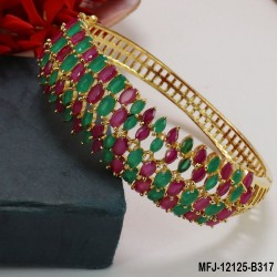 CZ & Emerald Stones Flowers & Leaves Design Gold Plated Finish Bracelet Buy Online