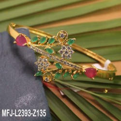 Ruby & Emerald Stones Flowers & Leaves Design Gold Plated Finish Bracelet Buy Online