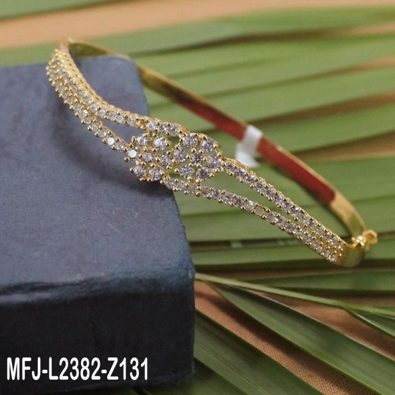 CZ Stones Flowers & Leaves Design Gold Plated Finish Bracelet Buy Online