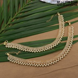 Gold Plated Finish Anklet With White Crystal Stones Inside and Pearls Buy Online