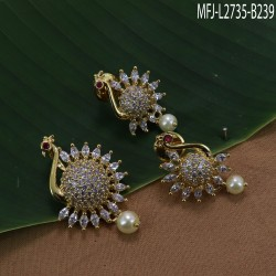 CZ & Ruby Stones Peacock Design With Pearl Drop Gold Plated Finish Pendant Set Buy Online