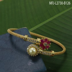 CZ Stones Flowers Design With Pearl Gold Plated Finish Bracelet Buy Online