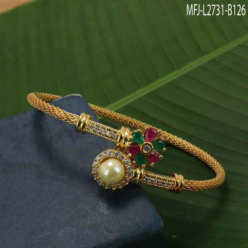 CZ & Ruby Stones Flowers Design With Pearl Gold Plated Finish Bracelet Buy Online