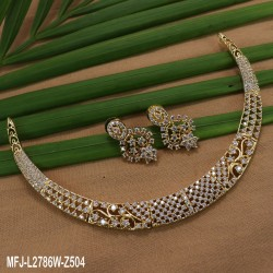 CZ & Ruby Stones Flowers & Leaves Design With Gold Plated Finish Necklace Set Buy Online