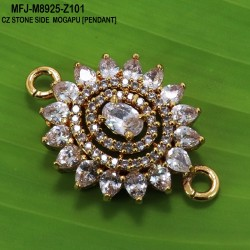 CZ & Black CZ Stones Flower Design Gold Plated Finish Side Pendant (for chain)Buy Online