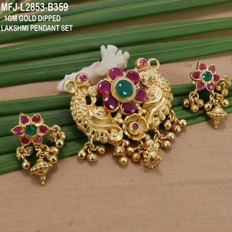 e828c626421c8 1 Gram Gold Dipped Ruby & Emerald Stones Flowers & Peacock Design With  Balls Drops Pendant Set Buy Online