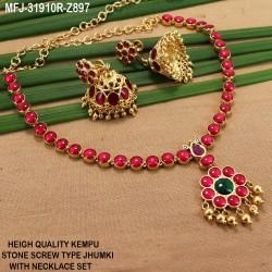 High Quality Kempu & CZ Stones Designer Single Line Necklace Set For Bharatanatyam Dance And Temple Buy Online