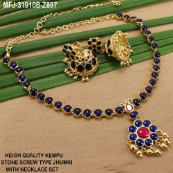 High Quality Kempu Flowers Design Single Line Necklace Set For Bharatanatyam Dance And Temple Buy Online