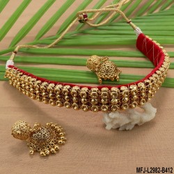 Ruby & Emerald Stones Peacock Design With Pearls Drops Mat Finish Choker Necklace Set Buy Online