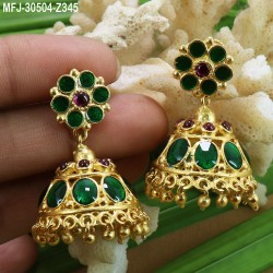 High Quality Kempu Stones With Pearls Drops Flowers Design Jhumki For Bharatanatyam Dance And Temple Buy Online