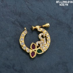 CZ Stones With CZ Drop Peacock Design Gold Plated Finish Nose Pin Buy Online