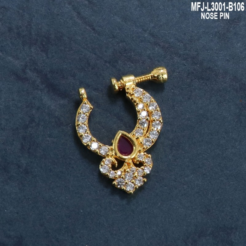 CZ & Ruby Stones Flowers & Leaves Design Gold Plated Finish Nose Pin Buy Online
