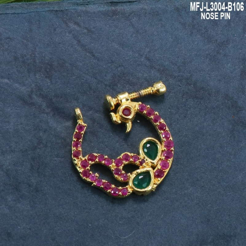 Ruby & Emerald Stones Peacock Design Gold Plated Finish Nose Pin Buy Online