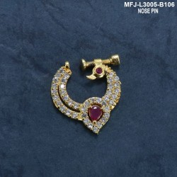CZ, Ruby & Emerald Stones Peacock Design Gold Plated Finish Nose Pin Buy Online