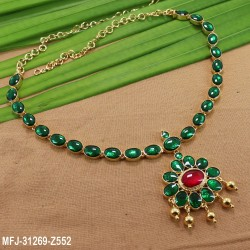 High Quality Kempu Stones Oval Design Single Line Necklace For Bharatanatyam Dance And Temple Buy Online