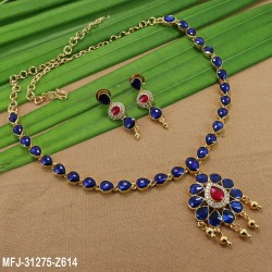 High Quality Kempu & CZ Stones Thilakam & Flowers Design Single Line Necklace Set For Bharatanatyam Dance And Temple Buy Online