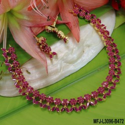 Ruby & Emerald Stones Flowers Design Gold Plated Finish Necklace Set Buy Online