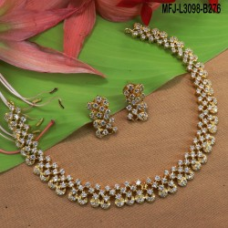Ruby & Emerld Stones Flowers Design Gold Plated Finish Necklace Set Buy Online