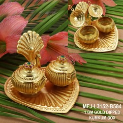1 GM Gold Dipped With Ruby & Emerald stones With Perls Double Flower Design KumKum Box Online
