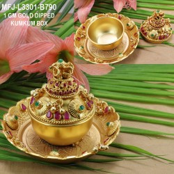 1 GM Gold Dipped With Ruby & Emerald stones Peacock Design KumKum Box Online