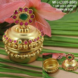 1 GM Gold Dipped With Ruby & Emerald Stones Pot Ope Type Designed Open Type KumKum Box Online