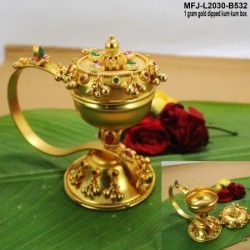 1 GM Gold Dipped With Ruby & Emerald Stones Flower Designed Open Type KumKum Box Online