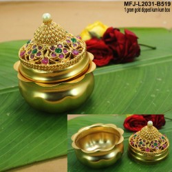1 GM Gold Dipped With Ruby & Emerald Stones Open Type Designed  KumKum Box Online
