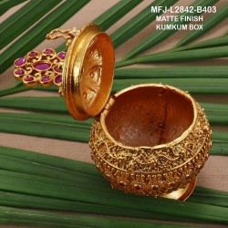 1 GM Gold Dipped With Ruby & Emerald Stones Peacock  Designed KumKum Box Online