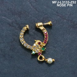 CZ & Ruby Stones Thilakam & Peacock Design Gold Plated Finish Nose Pin Buy Online