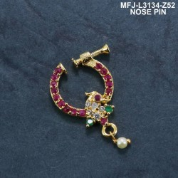 CZ & Ruby & Emerald Stones With Perl Peacock Design Gold Plated Finish Nose Pin Buy Online