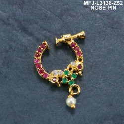 Ruby & Emerald Stones With Perl Peacock Design Gold Plated Finish Nose Pin Buy Online