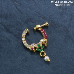 CZ &Ruby & Emerald Stones With Perl Double Headed Peacock Design Gold Plated Finish Nose Pin Buy Online