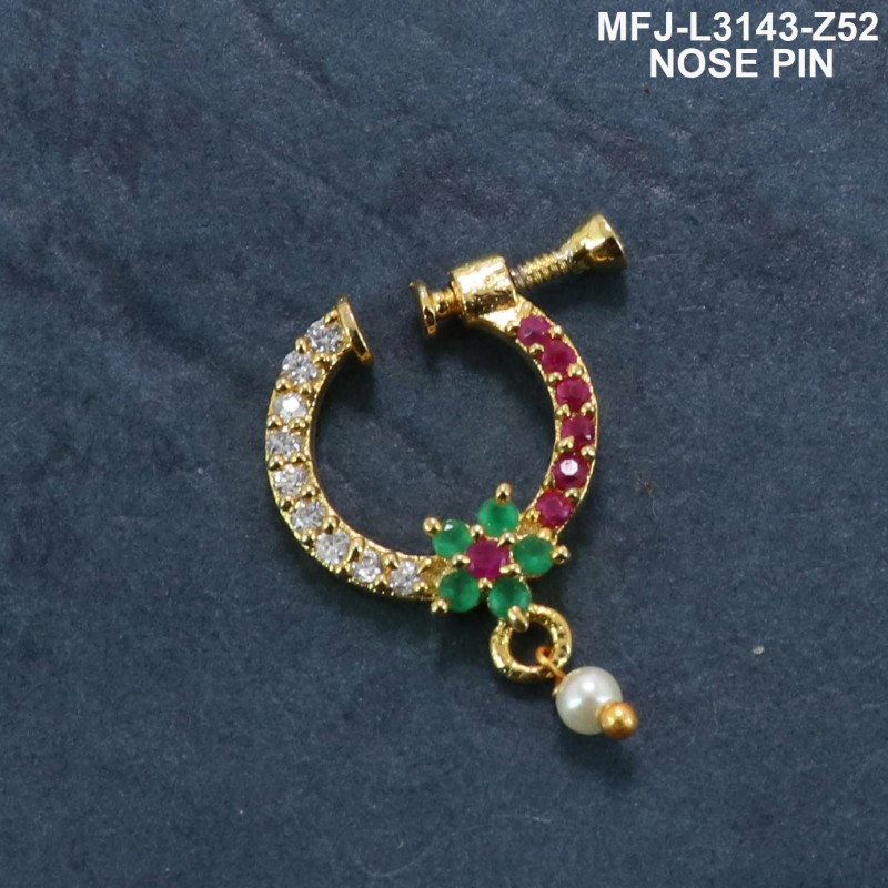 CZ &Ruby & Emeralrd Stones With Perl Peacock With Flower Design Gold Plated Finish Nose Pin Buy Online