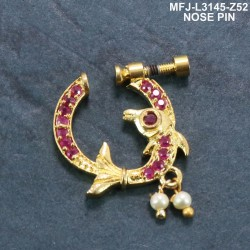 CZ &Ruby & Emeralrd Stones With Perl Flower Design Gold Plated Finish Nose Pin Buy Online