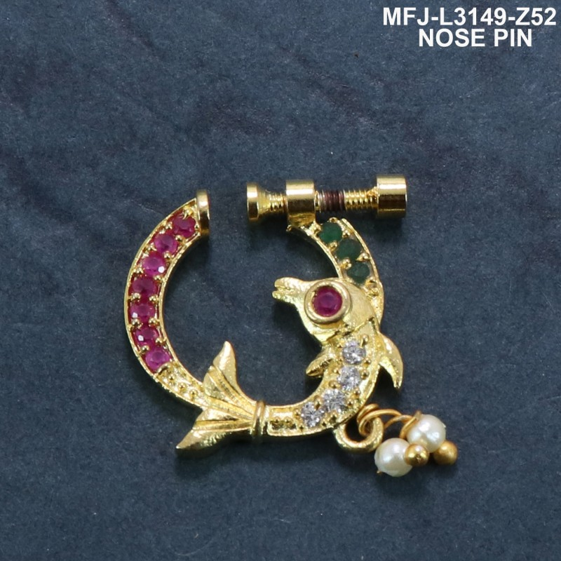 CZ & Ruby& Emerald Stones With Perl Peacock Design Gold Plated Finish Nose Pin Buy Online