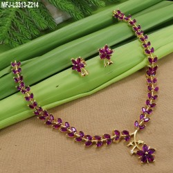 Emerald Stones Leafs With Flowers Design Gold Plated Finish Necklace Set Buy Online