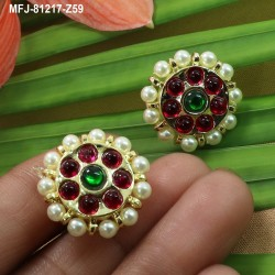 High Quality Kempu & CZ Stones With Pearls Flower Design Earrings For Bharatanatyam Dance And Temple Buy Online
