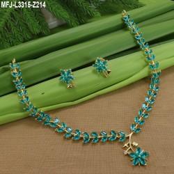 Blue Stones Leafs With Flowers Design Gold Plated Finish Necklace Set Buy Online