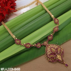 Ruby, Emerald Stones  Flowers Design Gold Plated Finish Necklace Set Buy Online