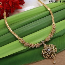 CZ, Ruby Stones Peacock Design Gold Plated Finish Necklace Set Buy Online