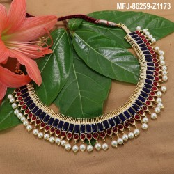 High Quality Kempu Stones Traditional Designer Necklace - Temple Necklace - Dance Jewellery Buy Online