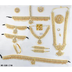 Kempu Stones Flowers Design Gold Colour Polished Combo Dance Set For Barathanatyam & Temple Buy Online