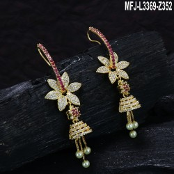 CZ & Ruby Stones With Pearl Drop Flower & Thilakam Design Gold Plated Finish Jumki Buy Online