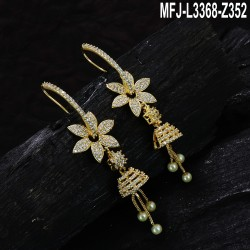 CZ & Ruby Stones With Pearls Drop Flowers Design Gold Plated Finish Jumki Buy Online